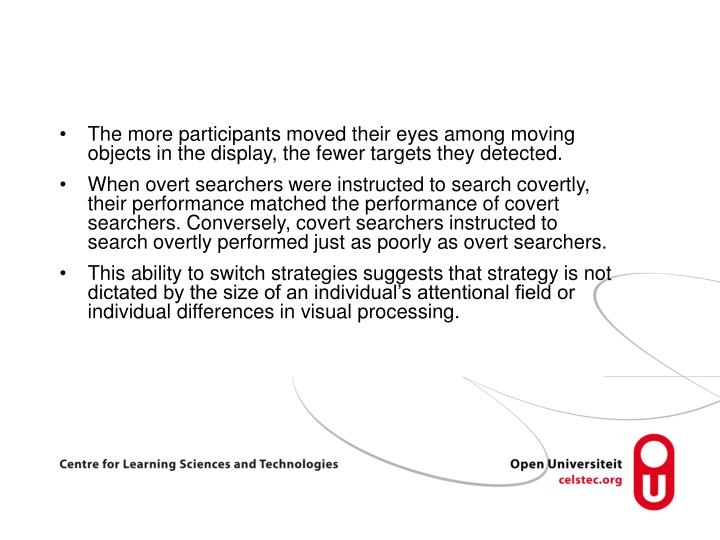 The more participants moved their eyes among moving objects in the display, the fewer targets they detected.