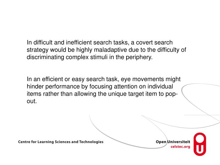 In difficult and inefficient search tasks, a covert search strategy would be highly maladaptive due to the difficulty of discriminating complex stimuli in the periphery.