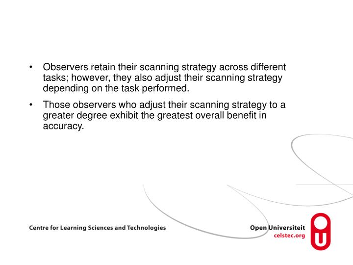 Observers retain their scanning strategy across different tasks; however, they also adjust their scanning strategy depending on the task performed.
