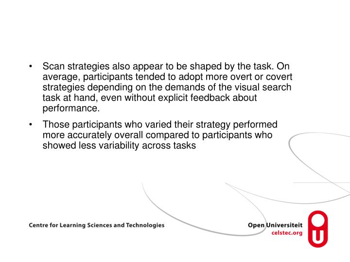 Scan strategies also appear to be shaped by the task. On average, participants tended to adopt more overt or covert strategies depending on the demands of the visual search task at hand, even without explicit feedback about performance.