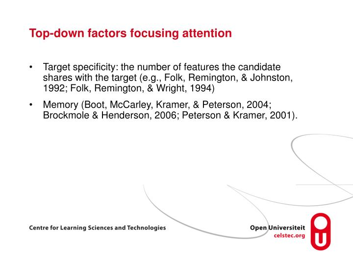 Top-down factors focusing attention