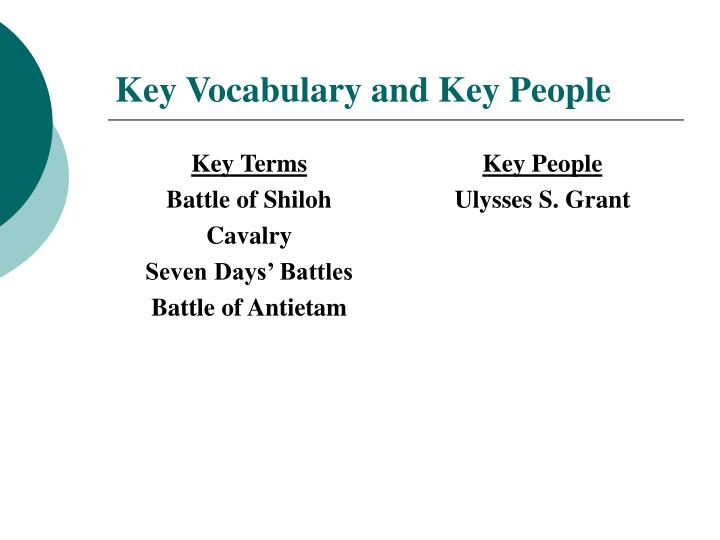 Key vocabulary and key people