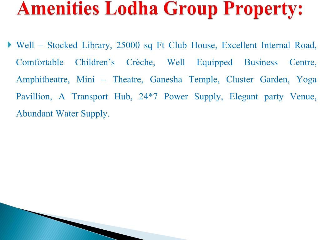 Amenities Lodha Group Property: