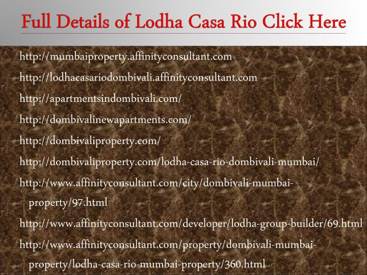 Full details of lodha casa rio click here
