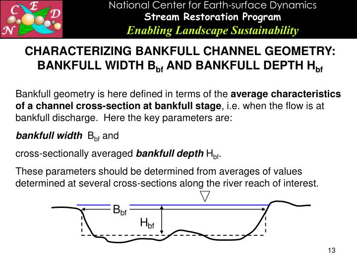 CHARACTERIZING BANKFULL CHANNEL GEOMETRY: