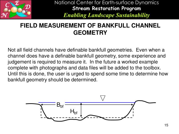 FIELD MEASUREMENT OF BANKFULL CHANNEL GEOMETRY