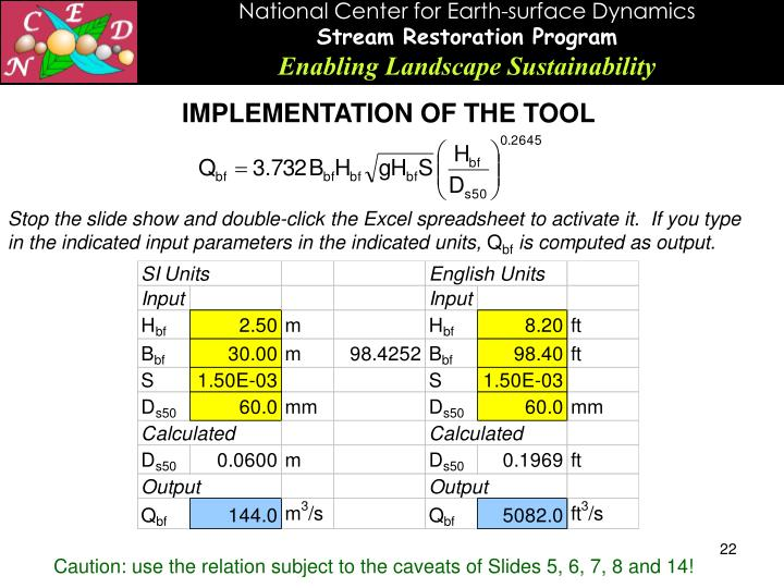 IMPLEMENTATION OF THE TOOL