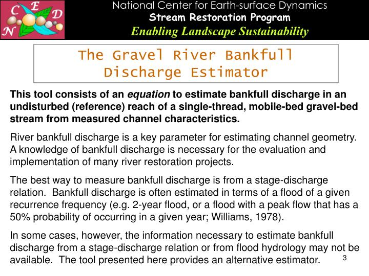 The Gravel River Bankfull Discharge Estimator