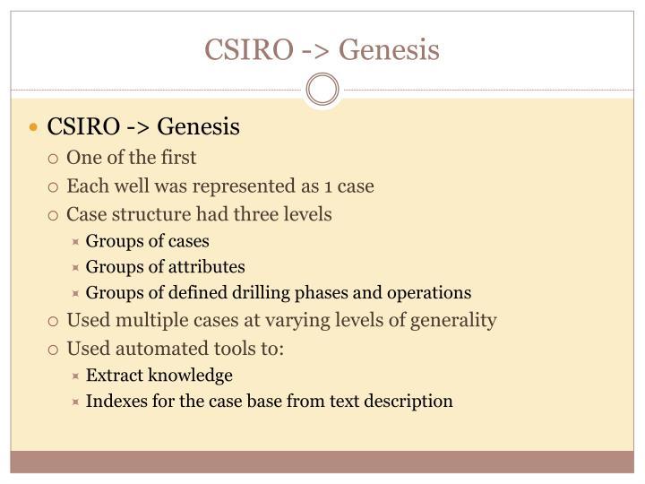 CSIRO -> Genesis