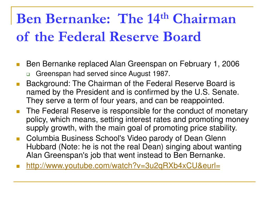 Ben Bernanke:  The 14