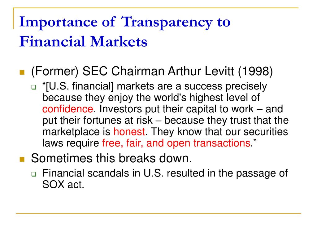 Importance of Transparency