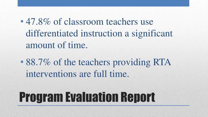 88.7% of the teachers providing RTA interventions are full time.