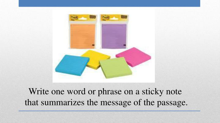 Write one word or phrase on a sticky note