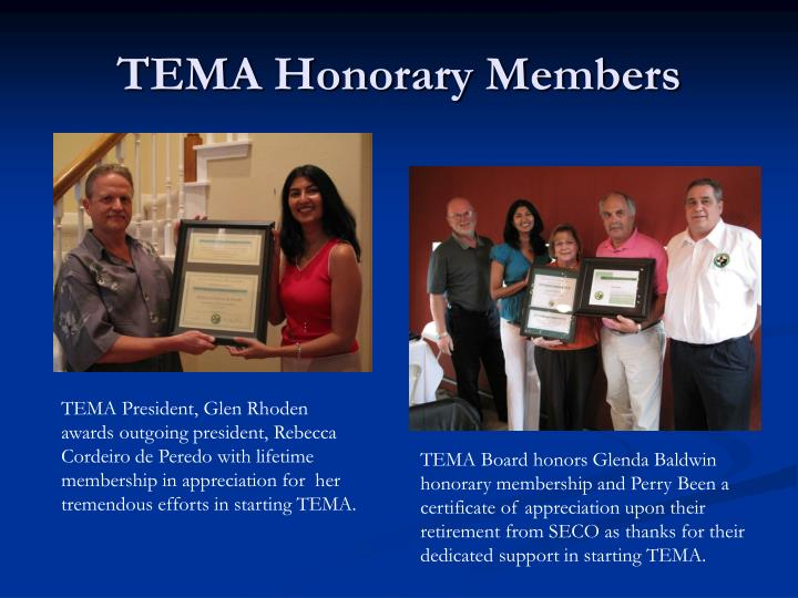 TEMA Honorary Members