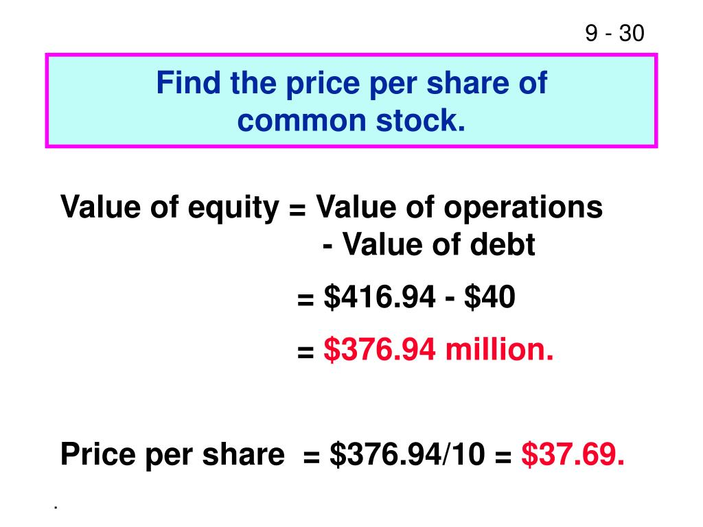 Find the price per share of