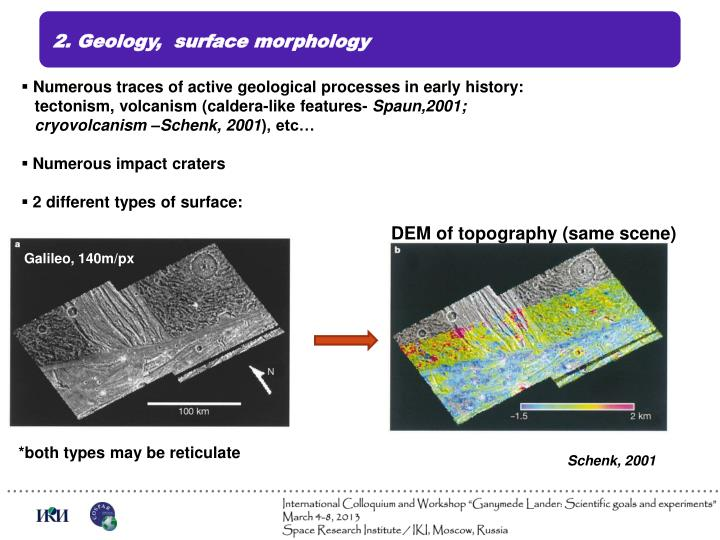 2. Geology,  surface morphology