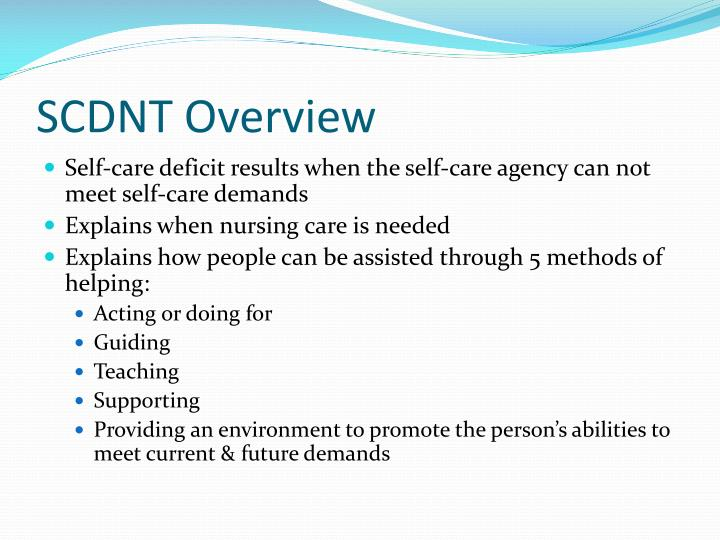 nursing patient and self care deficit Dorothea e orem the self-care deficit nursing theory orem developed the self-care deficit theory of nursing, which is composed of three interrelated theories: (1) [either] the patient or the nurse may have the major role in the performance of care measures.