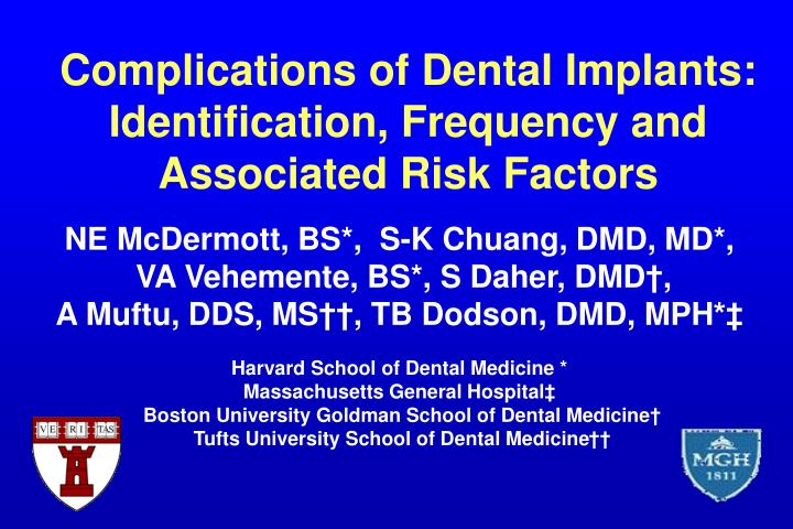 Complications of dental implants identification frequency and associated risk factors