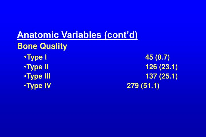 Anatomic Variables (cont'd)