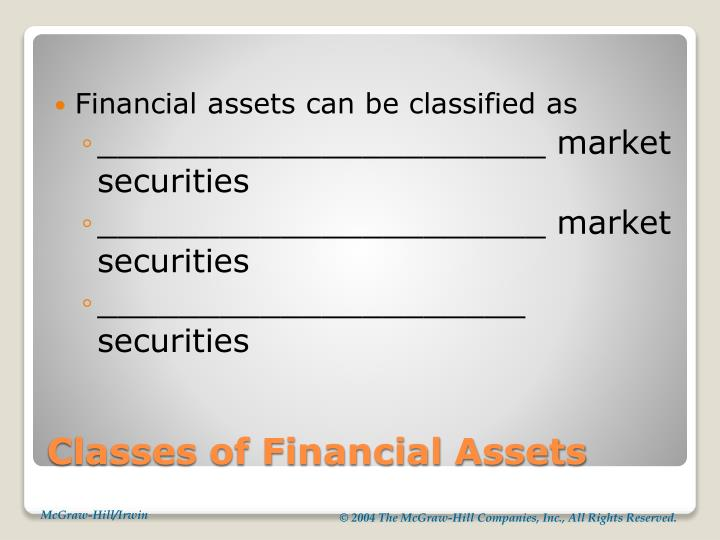 Classes of financial assets