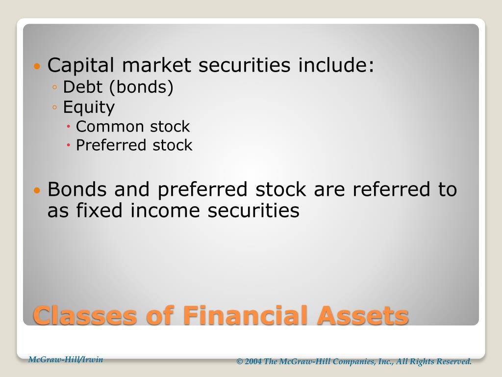 Capital market securities include: