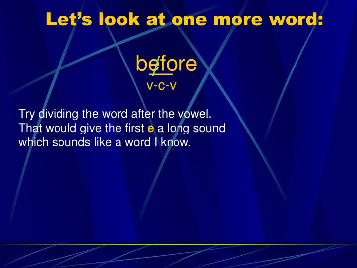 Let's look at one more word:
