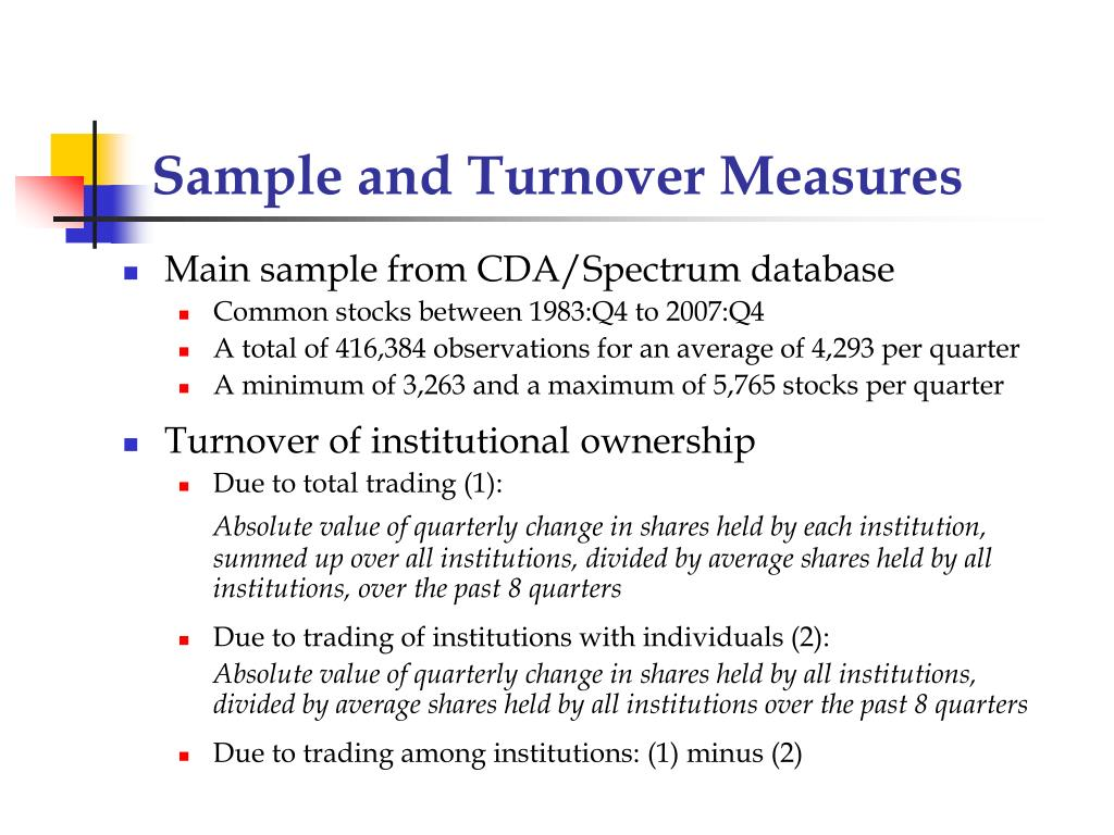 Sample and Turnover Measures