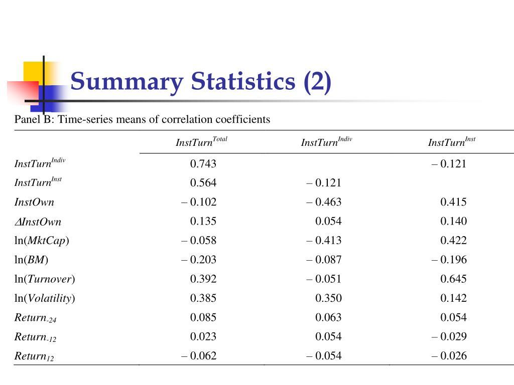 Summary Statistics (2)