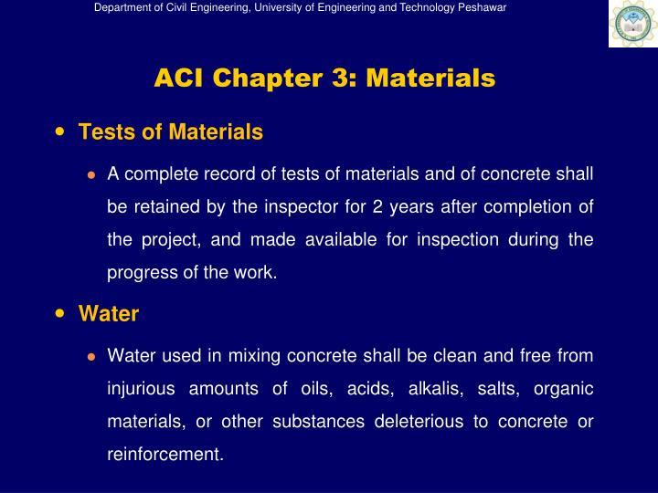 ACI Chapter 3: Materials