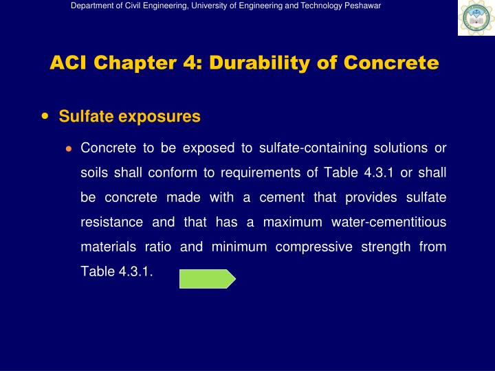 ACI Chapter 4: Durability of Concrete