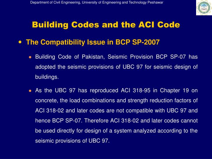Building Codes and the ACI Code