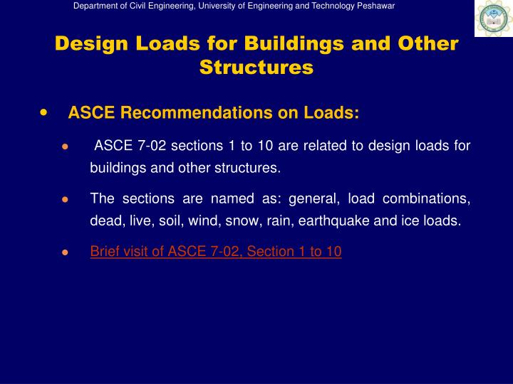 ASCE Recommendations on Loads: