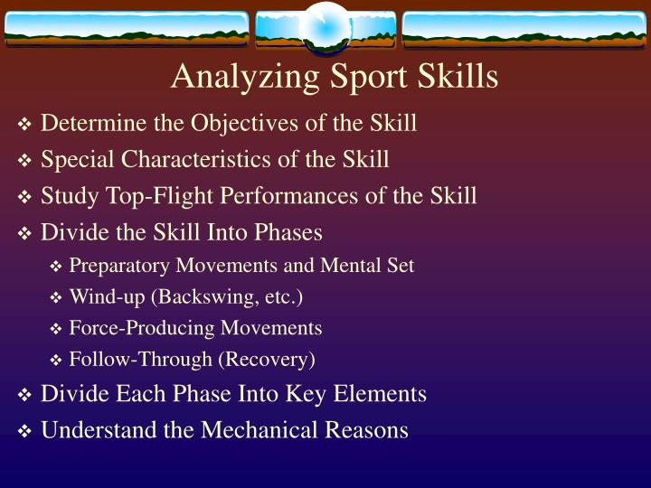 Analyzing sport skills