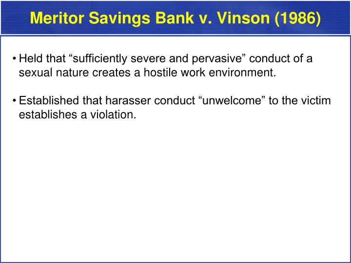 Meritor Savings Bank v. Vinson (1986)