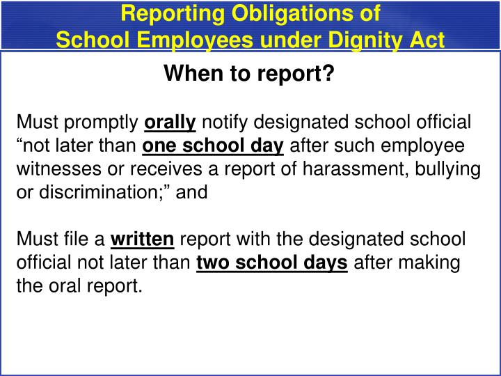 Reporting Obligations of