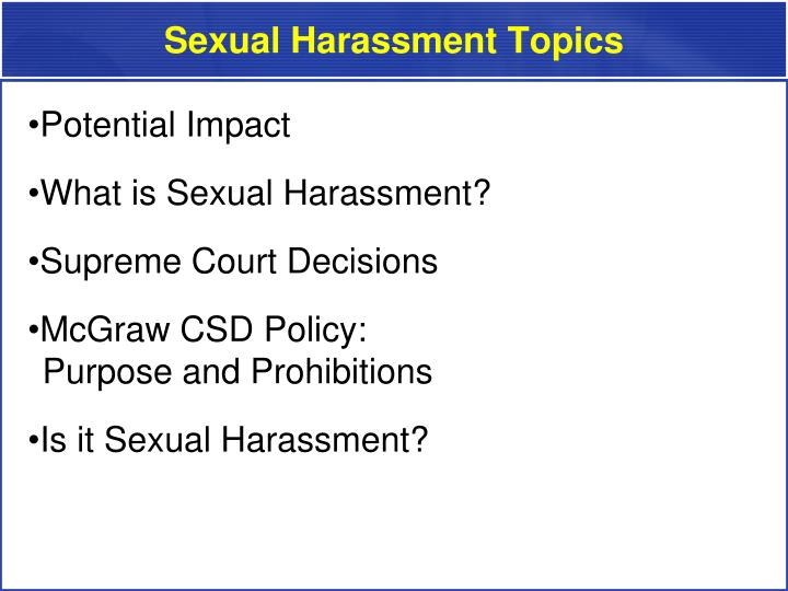 Sexual harassment topics