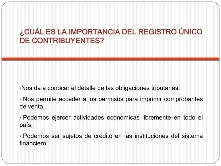 ¿CUÁL ES LA IMPORTANCIA DEL REGISTRO ÚNICO