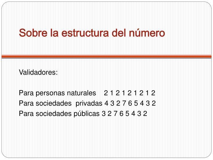 Sobre la estructura del número
