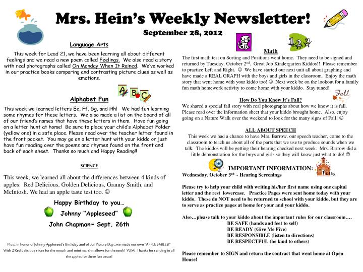 Mrs hein s weekly newsletter september 28 2012