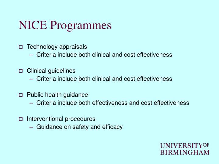 NICE Programmes
