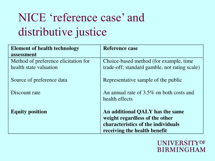 NICE 'reference case' and distributive justice