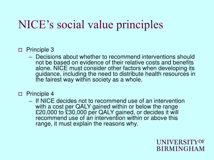 NICE's social value principles