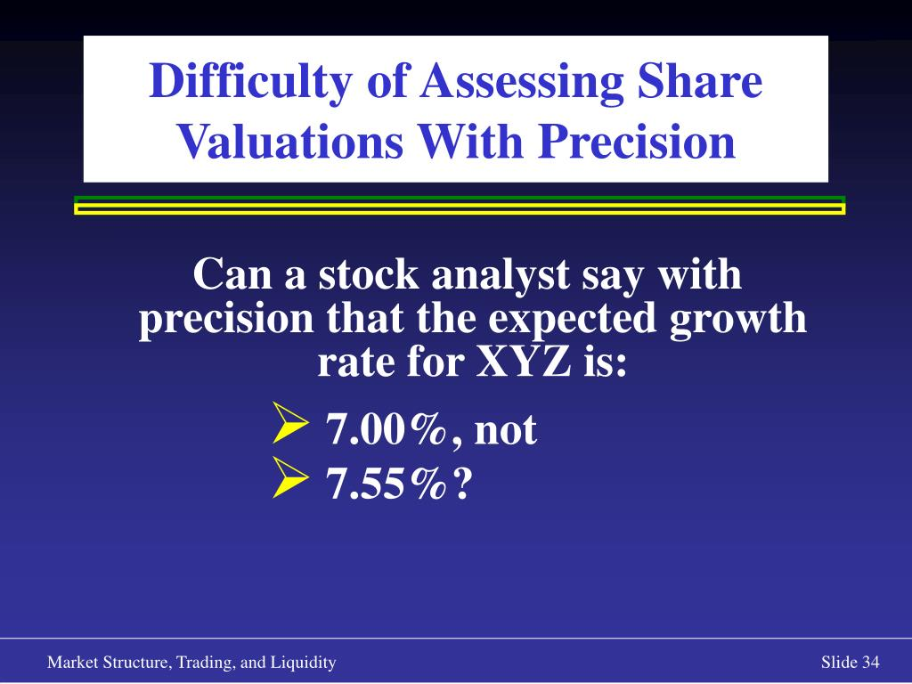 Difficulty of Assessing Share Valuations With Precision