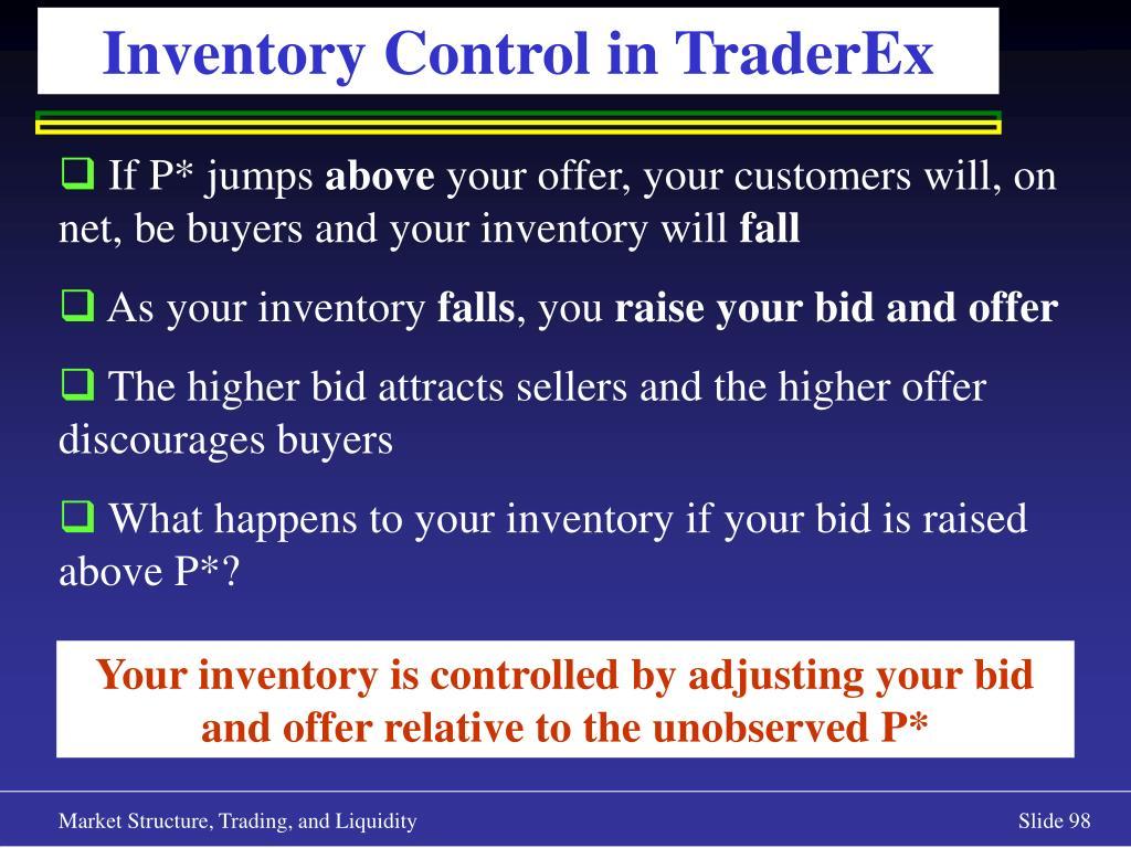 Inventory Control in TraderEx