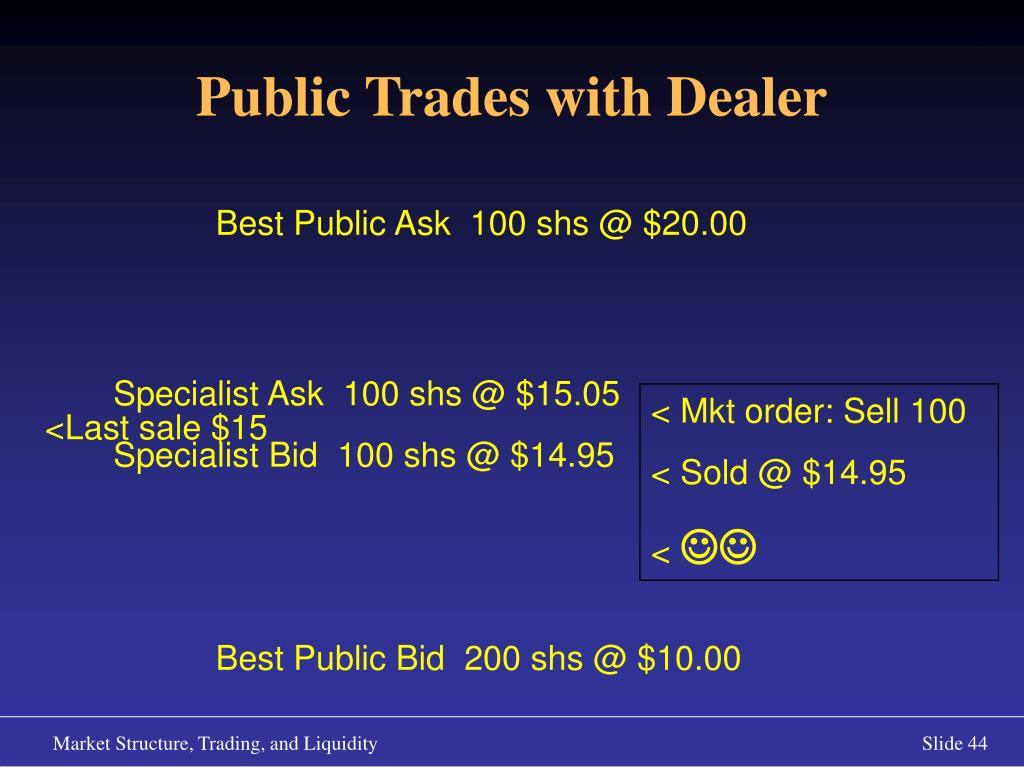 Public Trades with Dealer