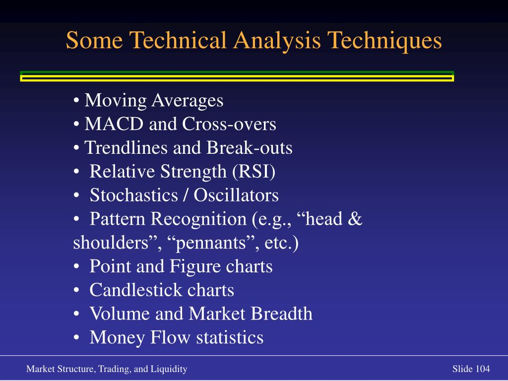 Some Technical Analysis Techniques