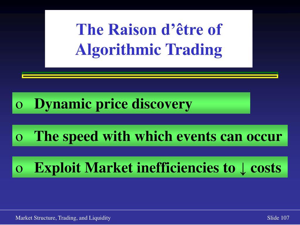 The Raison d'être of Algorithmic Trading