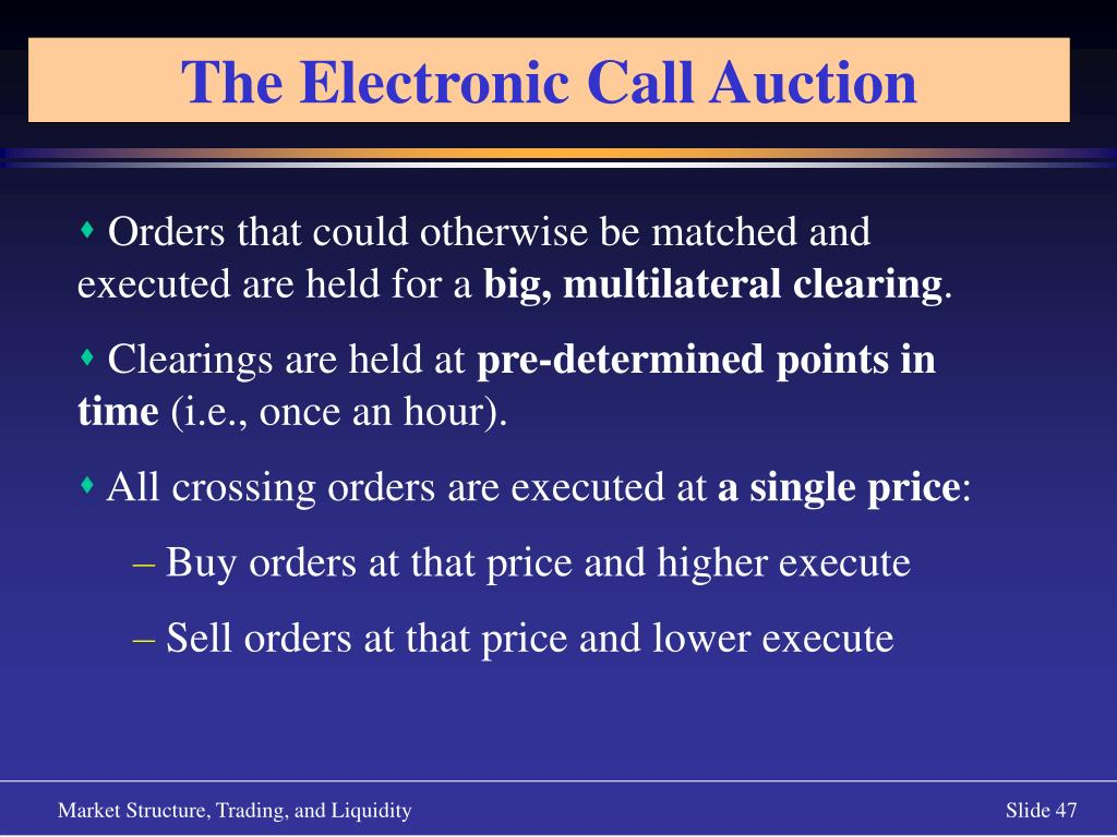 The Electronic Call Auction