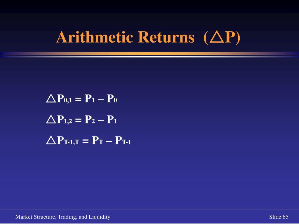 Arithmetic Returns  (