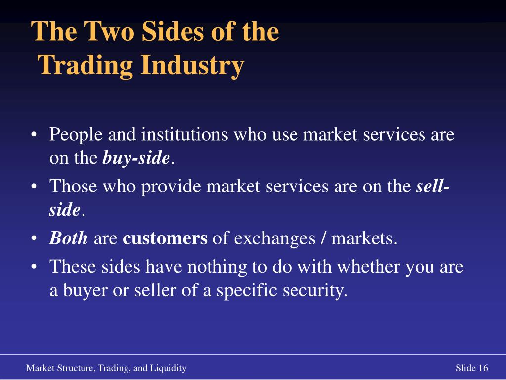 People and institutions who use market services are on the